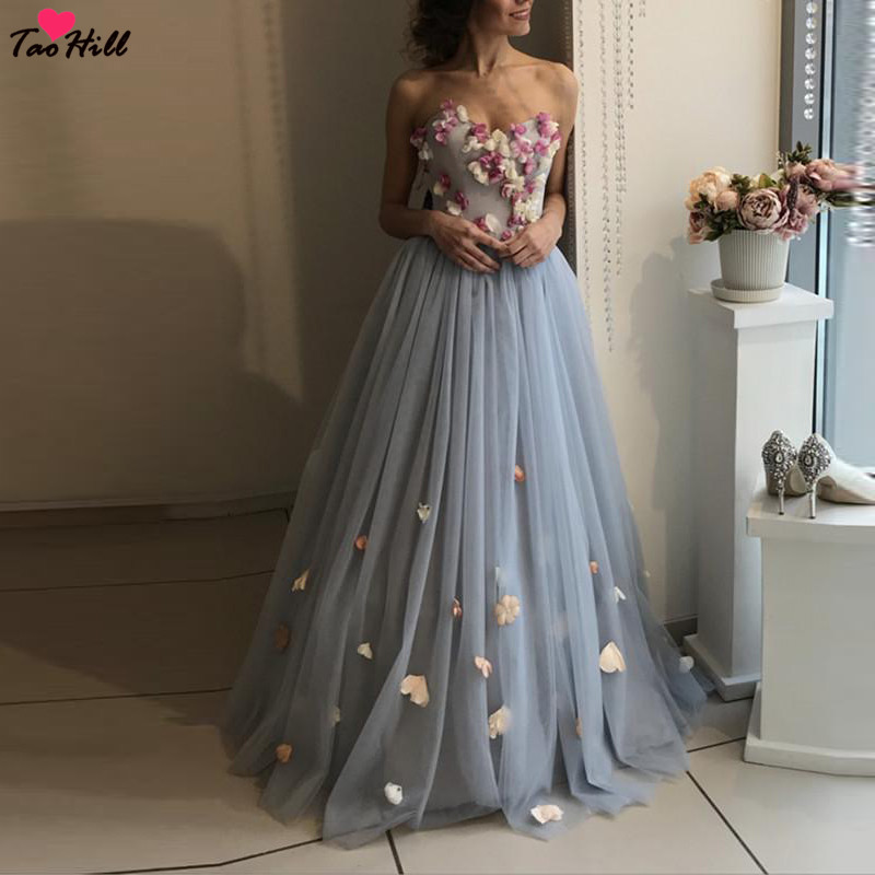 TaoHill Formal Evening Prom Dress Long Vestido Longo De Festa A line Strapless Sweetheart Neck Flowers Embellishment Blue Dress