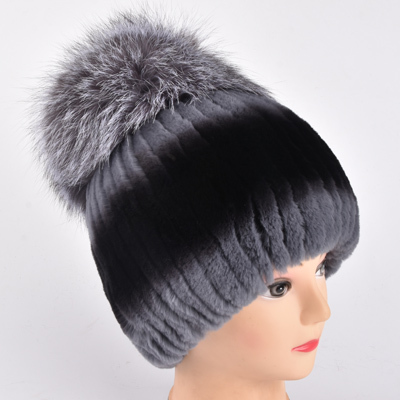 Winter rex rabbit fur hat for women with fox fur pom poms top knitted beanies fur hats new brand causal good quality caps