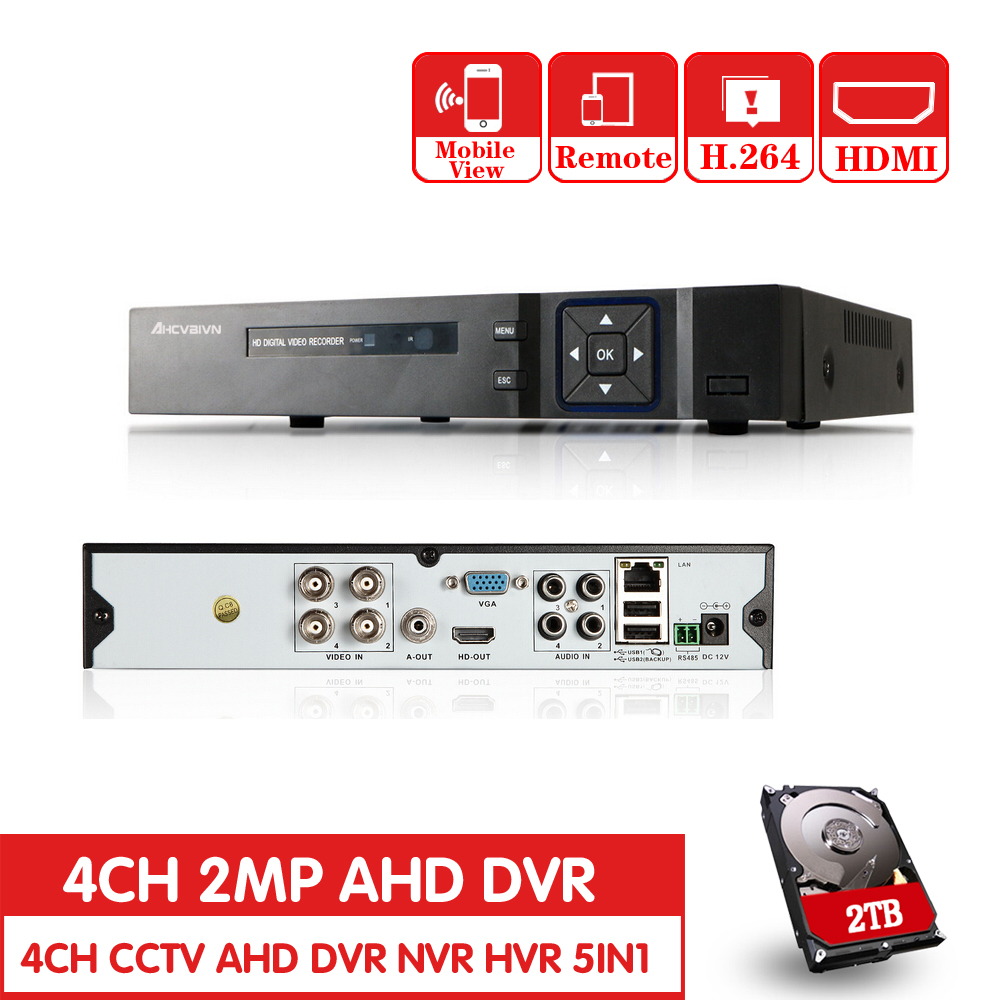 4Ch Full HD 1080P AHD-H Real time 4 Channel CCTV 1080PAHD DVR AHD-NH Hybrid DVR NVR 5in1 Video Recorder For AHD&IP&Analog Camera
