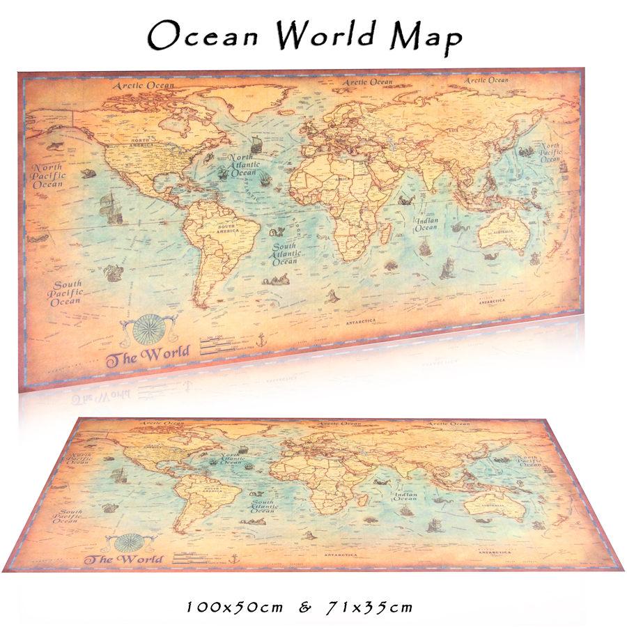 ᐂWorld Map Vintage Poster Ocean Maps Retro Sea Bar Pub Cafe Home ...
