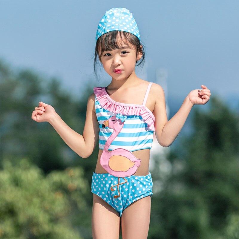 KNLPJYQ/милые купальные костюмы с фламинго для девочек, год, детские цельные купальные костюмы, детский кружевной купальник с одним плечом, бикини - Цвет: Розовый