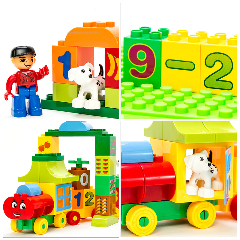 Image 4 - 50pcs Legoings Duplo Number Train Large particles Building Blocks Train Number Bricks Educational Baby City Toys For Children-in Blocks from Toys & Hobbies