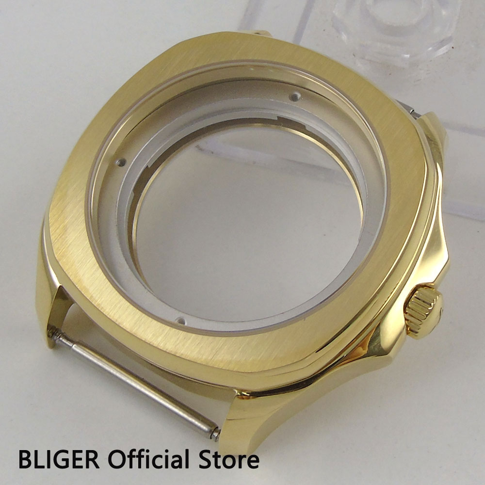 Sapphire Glass 40MM Golden Plated Sterile Stainless Steel Watch Case Fit For ETA 2836 MIYOTA 8215 Automatic Movement C4Sapphire Glass 40MM Golden Plated Sterile Stainless Steel Watch Case Fit For ETA 2836 MIYOTA 8215 Automatic Movement C4