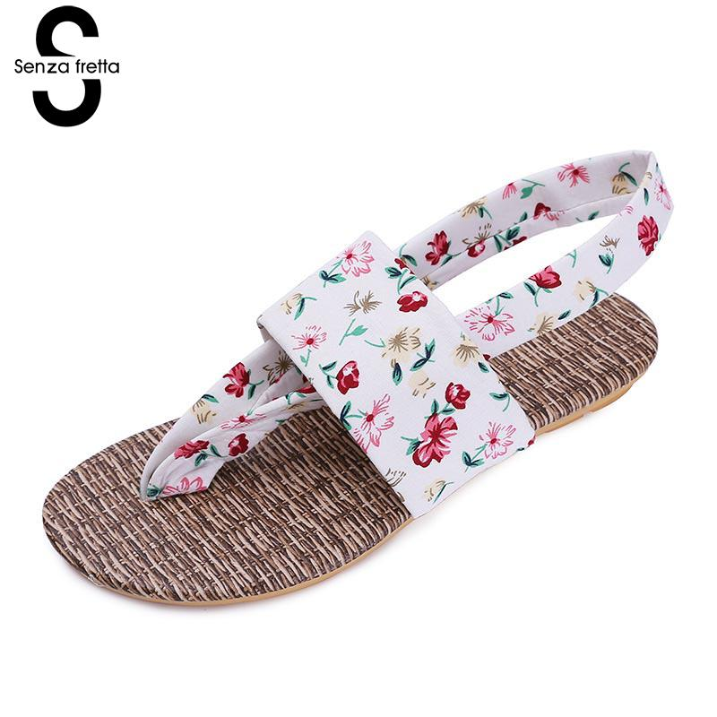 Senza Fretta Women Shoes Summer Floral Bohemian Flip Flops Beach Comfortable Rubber Sandals With Heel Belt  Flip Flops Flowers free shipping summer shoes women sandals beaded bohemian flip flops sandals beach shoes for women