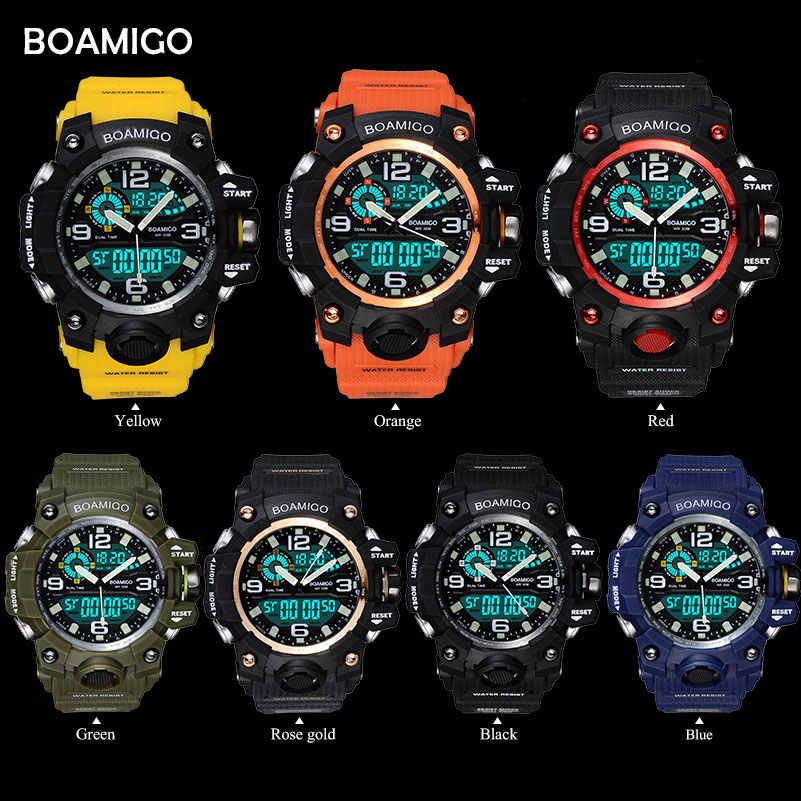 BOAMIGO Brand Men กีฬานาฬิกา LED ดิจิตอลนาฬิกาข้อมือนาฬิกากันน้ำ SWIM ยางสีเหลืองของขวัญนาฬิกานาฬิกา Relogios Masculino