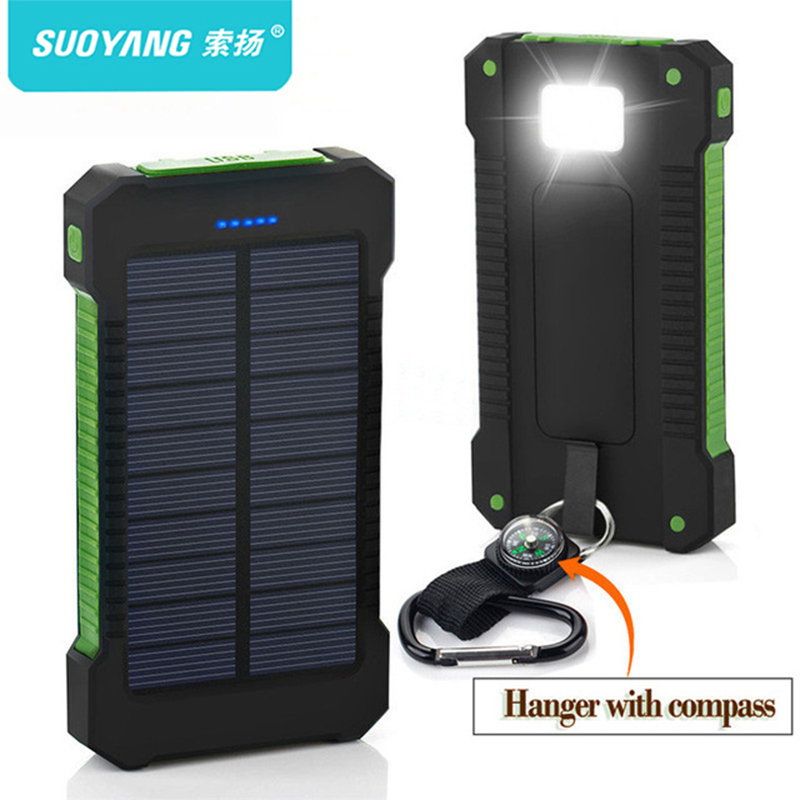 Top Solar Power Bank Waterproof 30000mAh Solar Charger Ports External Charger Powerbank for Xiaomi Smartphone with LED Light