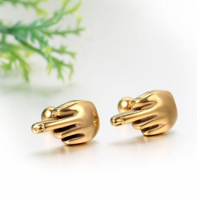 Fashion Stainless Steel Erect Middle Finger Ear Stud Earrings For Women Men Hypoallergenic Punk Cool