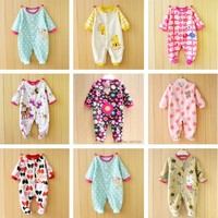 0 12M Autumn Fleece Baby Rompers Cute Pink Baby Girl Boy Clothing Infant Baby Girls Clothes
