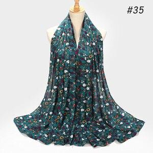 Image 4 - ¡Novedad de 2019! bufanda de Chifón con estampado de burbujas, diseño de flores, chales, pañuelos musulmanes, pañuelo para la cabeza, turbante, diadema, pañuelos largos