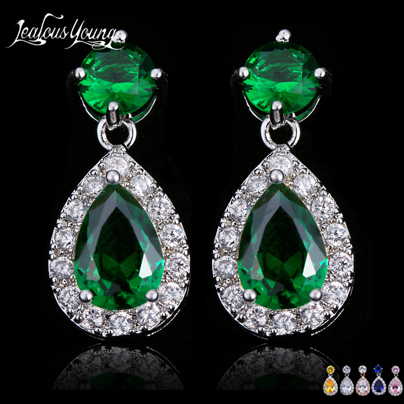Popular Green Stone Earrings Elegant Marquise Crystal Drop Earings For Women Jewelry Micro Inlay Craft Wedding