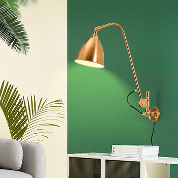 Nordic long pole wall lamp modern simple retro living room dining hallway long arm lamp creative bedside lamp