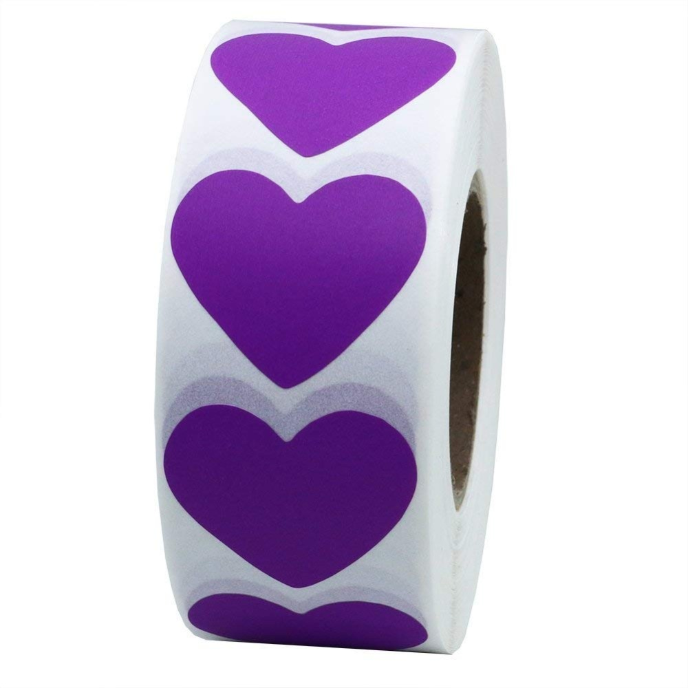 Purple Heart Stickers 2 Inch  Love Adhesive Labels 500 Per Roll (1 Roll)-Natural Purple Paper Stickers With Color Printing