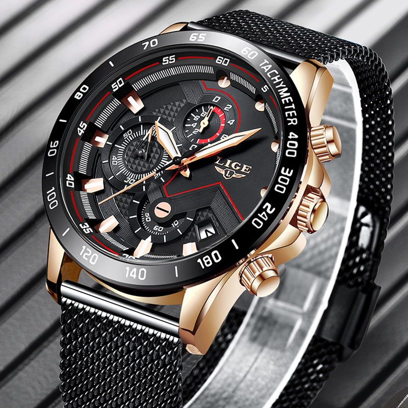 LIGE Fashion Mens Watches Top Brand Luxury Quartz Watch Men Sport Chronograph Stainless Steel Waterproof Watch Relogio Masculino