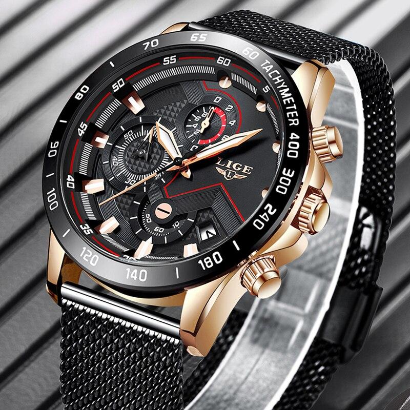 LIGE Fashion Mens Watches Top Brand Luxury Quartz Watch Men Sport Chronograph Stainless Steel Waterproof Watch Relogio Masculino