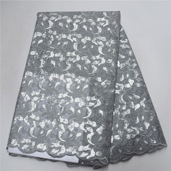 Newest Handcut High Quality grey African sequins tulle lace fabric french organza lace fabric with Sequins for party PSA93-1