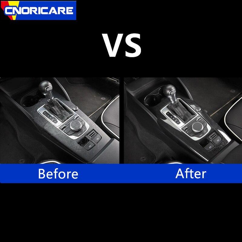 Fibre de carbone Style voiture Console centrale changement de vitesse panneau décoration couvercle garniture pour Audi A3 8 V 2014-18 LHD ABS intérieur décalcomanies - 4