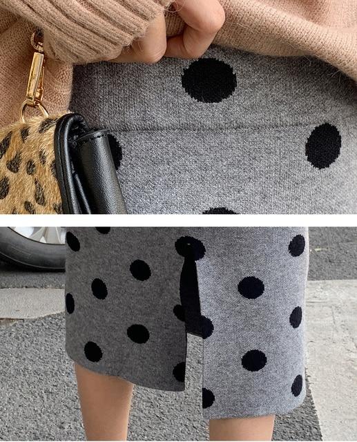 2019 autumn winter Polka Dot Knitted skirt women stretch high waist soft knit skirts woman 5