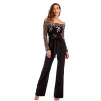 BEFORW 2018 Sexy Off Shoulder Long Sleeve Jumpsuit Women Sequins Patchwork Black Overalls Jumpsuit Casual Party