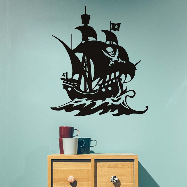 livraison gratuite bateau pirate silhouette diy amovible creative design art auto adh sif. Black Bedroom Furniture Sets. Home Design Ideas