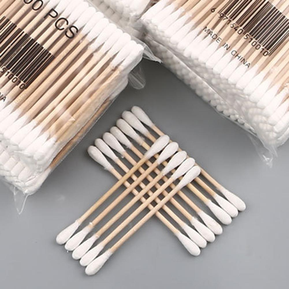 100Pcs Disposable Double Sided Wood Stick Cotton Swab Makeup Cleaning Applicator
