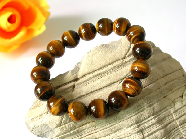 Natural Brown Tiger eye Stone Beads Men Women's Bracelet Elastic Bangle 10mm12mm 14mm 16mm 18mm Bead
