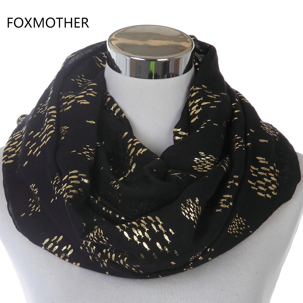 FOXMOTHER 2018 Nový design Móda Ženy Černé Bílé Lesklé Bronzing Zlato Menší Ryby Nekonečno Šátek Snood Ring