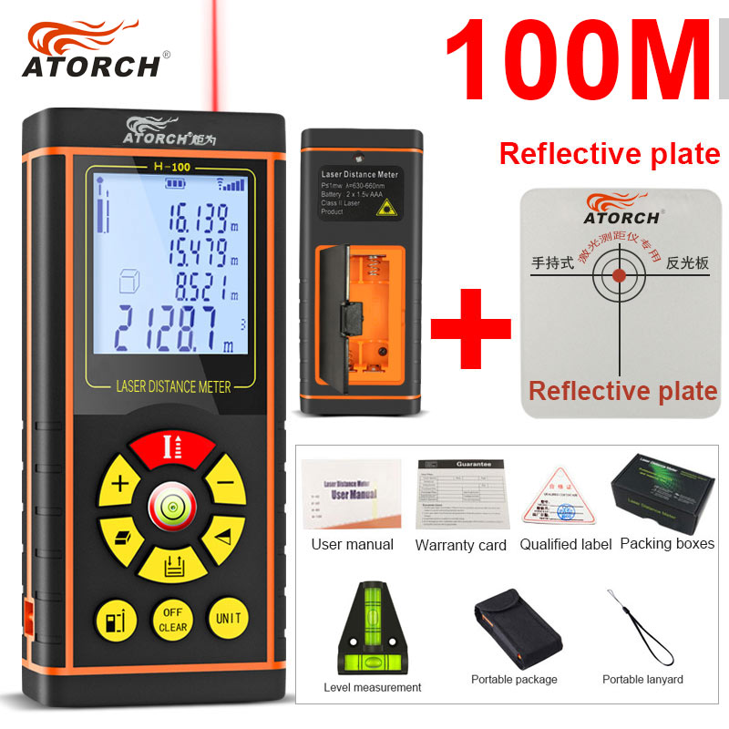 ATORCH 100M Digital Laser Distance Meter Rangefinder Optical Tape Range Finder Diastimeter build Measure Roulette rule tester digital 100m handheld digital laser distance meter range finder measure diastimeter