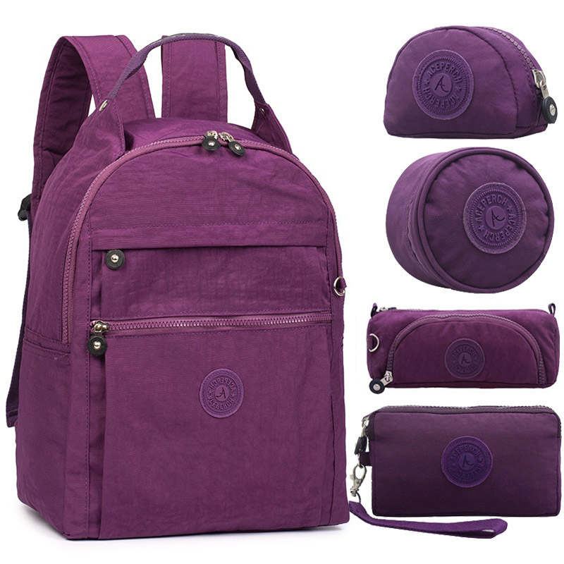 5pcs set Casual Design Famous Brand Women Backpacks Laptop Bag School Bags for Teenagers Girls With