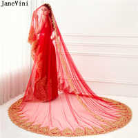 JaneVini Luxury Arabic Cathedral 3.5M Wedding Veil Long Red One Layer Gold Lace Appliques Tulle Bridal Veils Wedding Accessories
