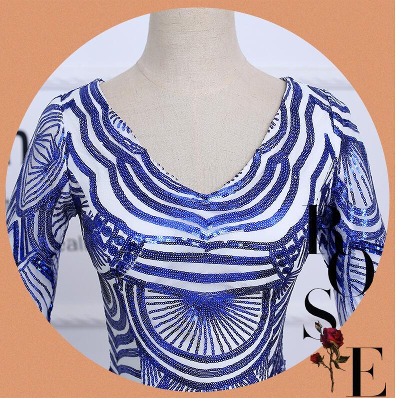 Beauty Emily beading Royal Blue Formal Dresses  Vestido De Festa Mermaid Evening dress Long Evening gown 2018 sexy mermaid dress