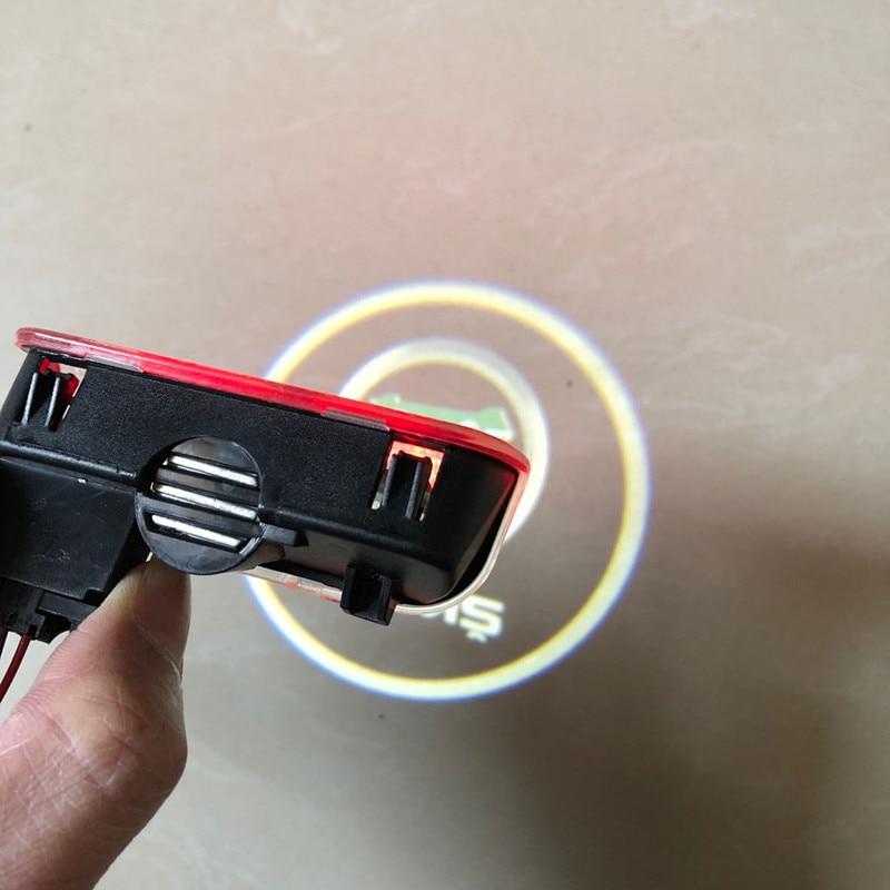 2x Car LED Door Warning Light Logo Projector Welcome Lights For Skoda Superb 2009 2010 2011 2012 2013 2014 2015