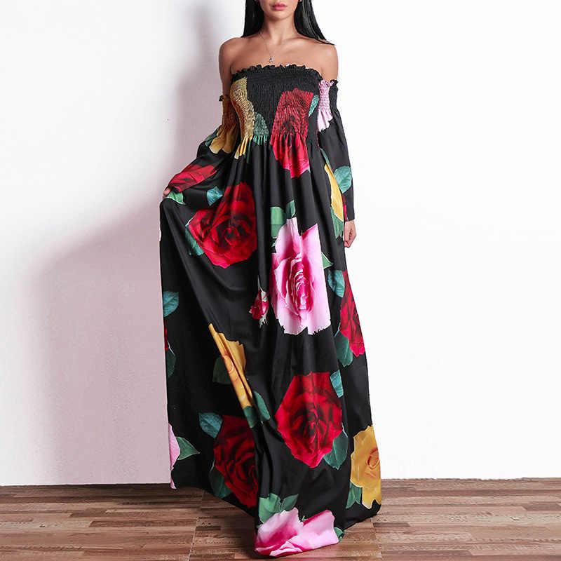 Роскошное летнее женское платье 2019, повседневное бальное платье с цветочным рисунком, богемное пляжное платье макси, женские сексуальные платья без бретелек с открытой спиной, Длинные вечерние платья