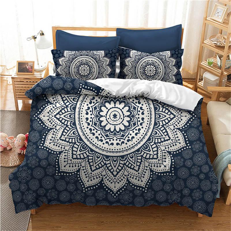 Mandala Bedding Set Soft Bedclothes Twill Bohemian Print Duvet Cover Set With Pillowcases 3 Pcs Bed Set Home