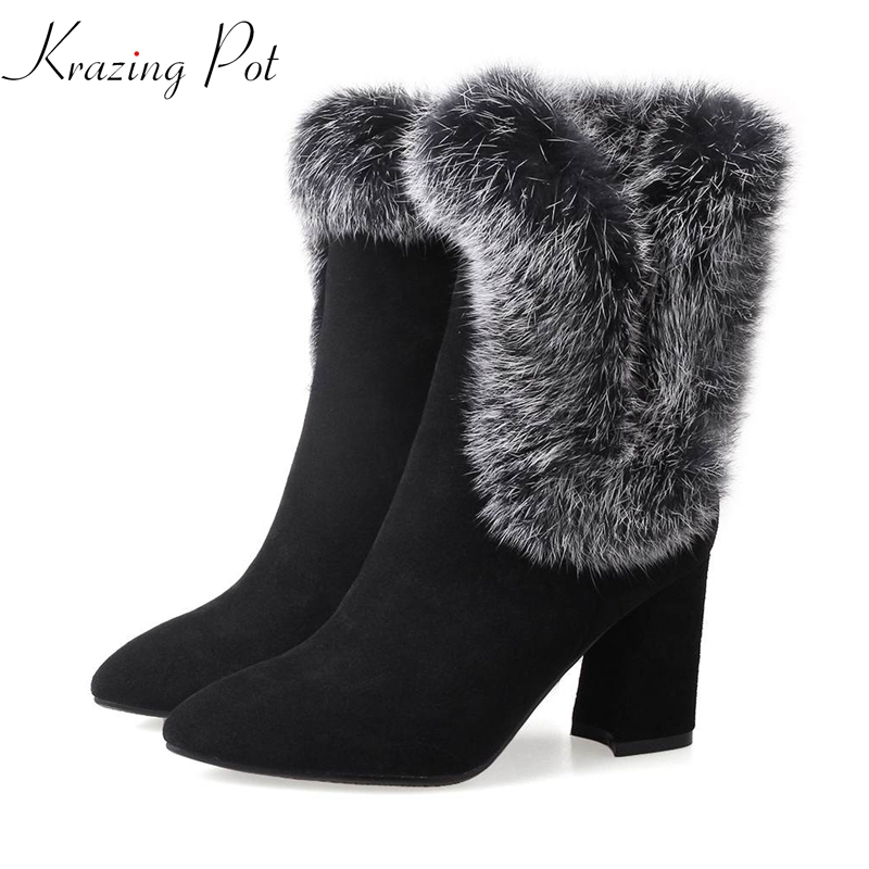 Krazing Pot 2018 cow suede real fur rabbit hair women streetwear pointed toe dowager high heels metal zip ankle short boots L29