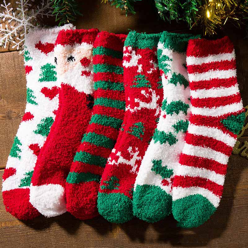 Autumn Winter New Christmas Short Sock Women Men Thicken Coral Fleece Songkou Socks Santa Claus Christmas Tree Cotton Hosiery