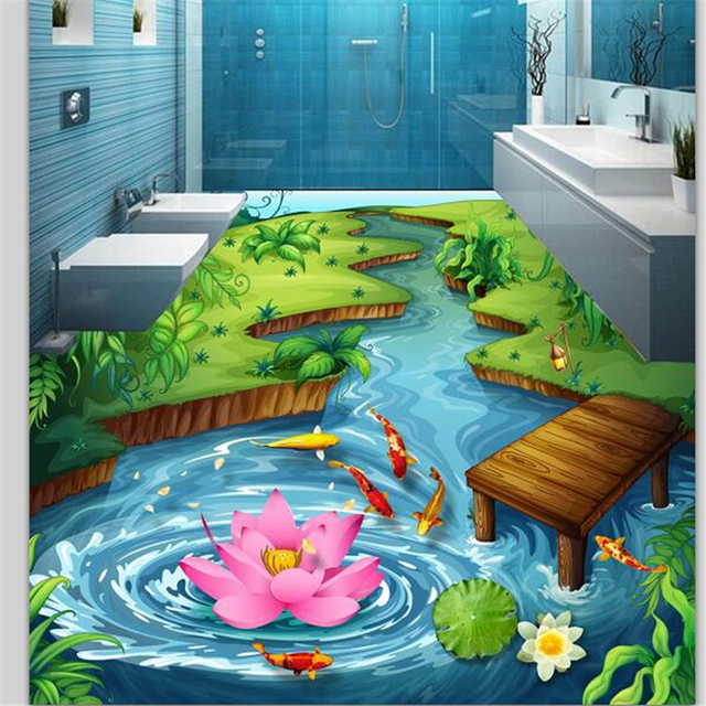 beibehang Custom floor painting 3d photo decoration painting park river water 3D flooring three-dimensional painting wallpaper