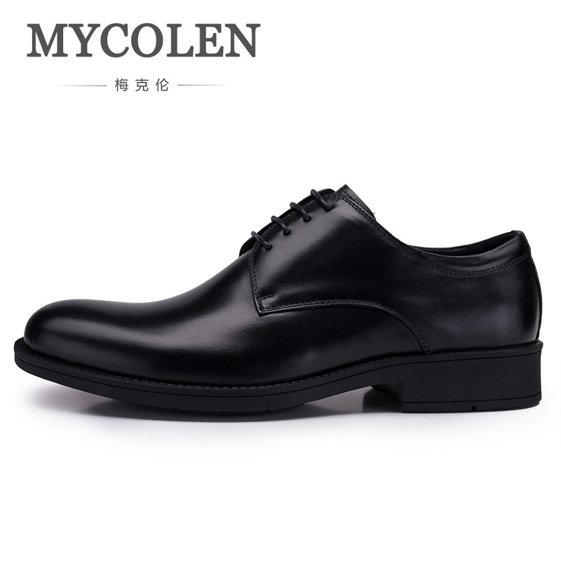 MYCOLEN Fashion Luxury Designer Mens Dress Shoes Genuine Leather Casual Shoes Round Toe Trend Male Shoes For Wedding Zapatos mycolen mens shoes round toe dress glossy wedding shoes patent leather luxury brand oxfords shoes black business footwear