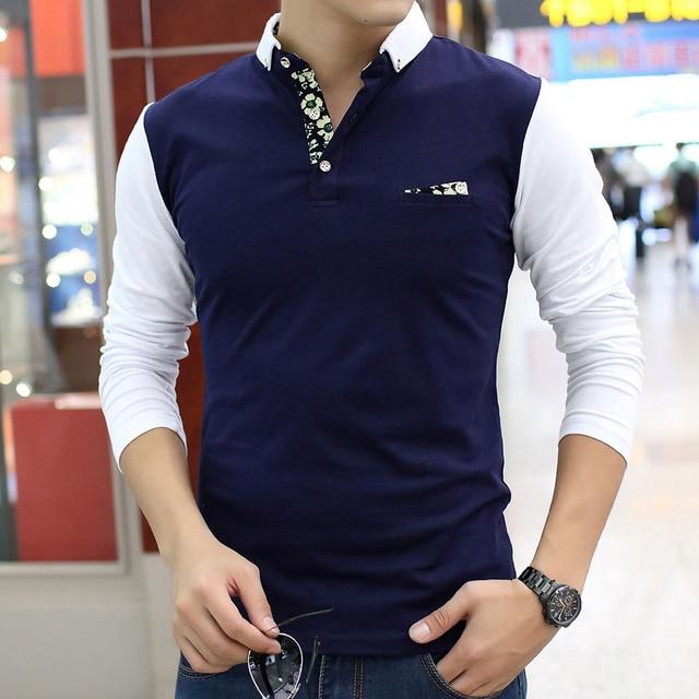 2017 Casual Polo Shirt men Fashion Splicing Floral Print  long-sleeve men's polos Camisetas Masculinas Man hot-sale Slim Polos
