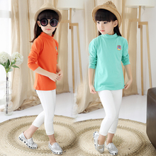Kids casual long-sleeve top 2016 spring and autumn t-shirt girl turtleneck solid color girls t shirts
