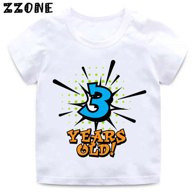 Boys and Girls Birthday Boy Number 1-5 Letter Print T shirt Baby Summer Funny Clothes Kids Birthday Gift Number T-shirt,HKP2434