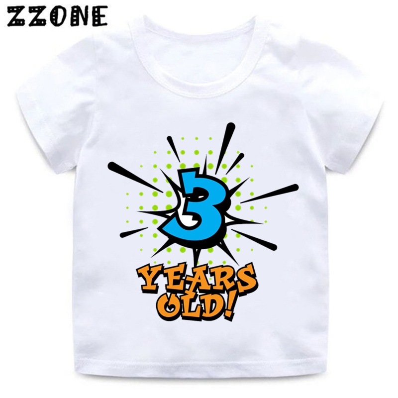 Boys and Girls Birthday Boy Number 1-5 Letter Print T shirt Baby Summer Funny Clothes Kids Birthday Gift Number T-shirt,HKP2434 letter and stripe print glitter dress