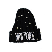 Letter Embroidery Winter Hats With Rhinestones Women Ladies Knitted Beanie Warm Hat Gorros Mujer Invierno crescent embroidery flanging knitted beanie