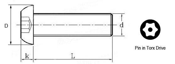 Torx screws drawing