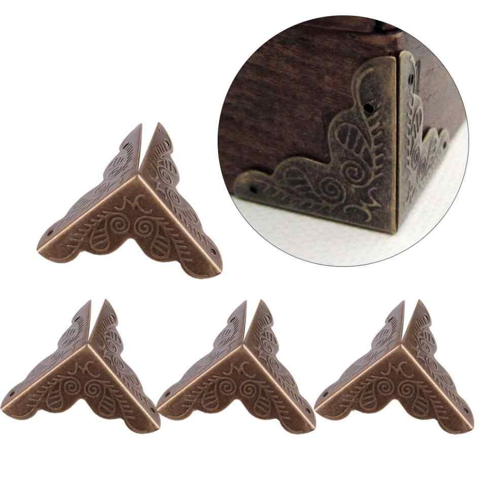 12 יחידות עץ תיבת תכשיטי קונר סוגריים מתנת מקרה פינה דקורטיבי מגיני ברזל קצה כיסוי משמר