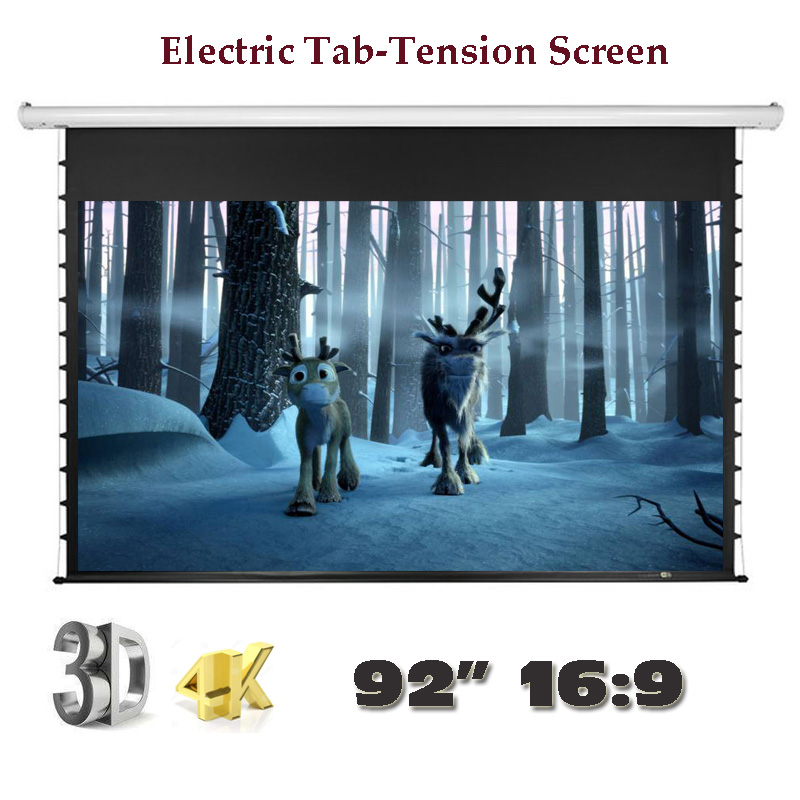 92 inch 16:9 Luxury Electric Tab-Tension Screen 4K 3D Home Theater High Quality Cinema Motorized Projector Screens luxury motorized electric tab tension 139inch 16 10 matte white home theater high quality cinema projector screen