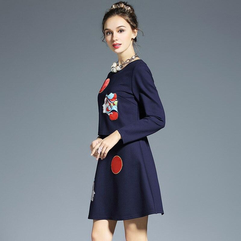4xl xxxl Piste De 2 Haute 5xl Femmes Bleu Robes L Faux Longues Appliques Qualité La Designer 2017 Robe D'automne Pièce Plus Manches Taille O5dcq