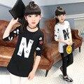 Девушки футболки Дети длина футболка одежда для Девочек с длинными рукавами Футболки дети Печать футболки Горячие продажа топы Детская одежда