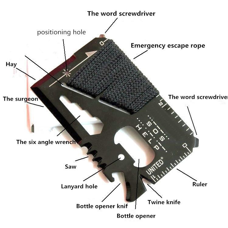 Multiusos al aire libre tarjeta de cuchillo cuerda paraguas cuchillo tarjeta de