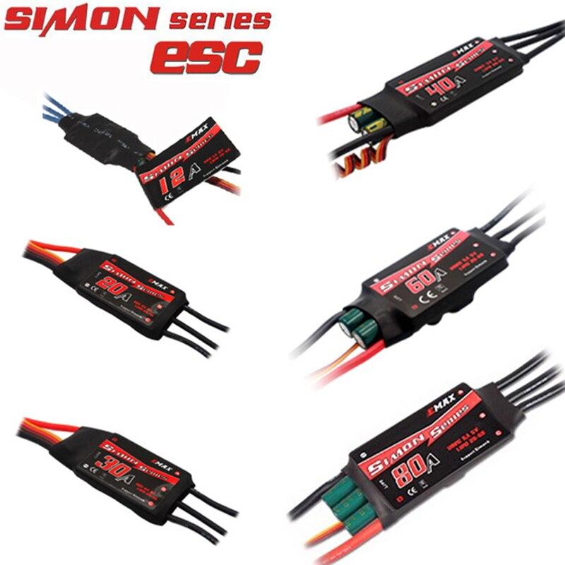1PCS/4 PCS EMAX SimonK ESC 12A 20A 30A 40A 60A 80A BEC Speed Controller Brushless ESC For FPV RC UAV Quadcopter Frame Drone kit
