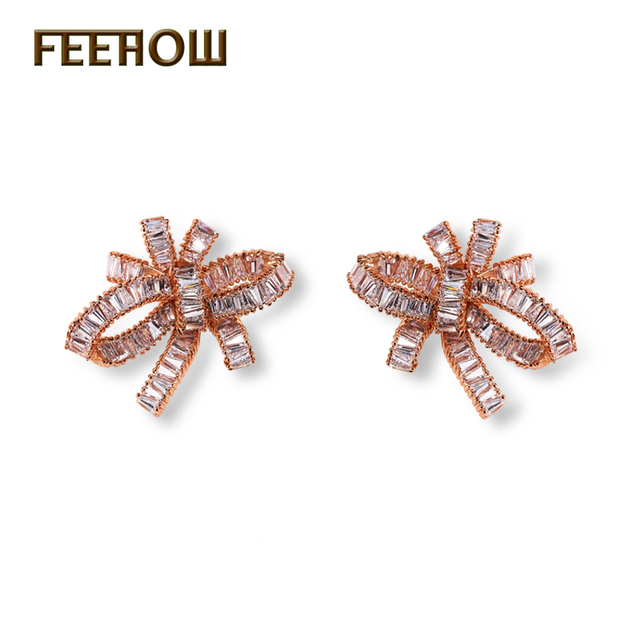 FEEROW Unique Twist Love Knot Women Jewelry Rose Gold Plated Gorgeous Stud Earrings With Rectangle Zircon For Wedding FWEP366